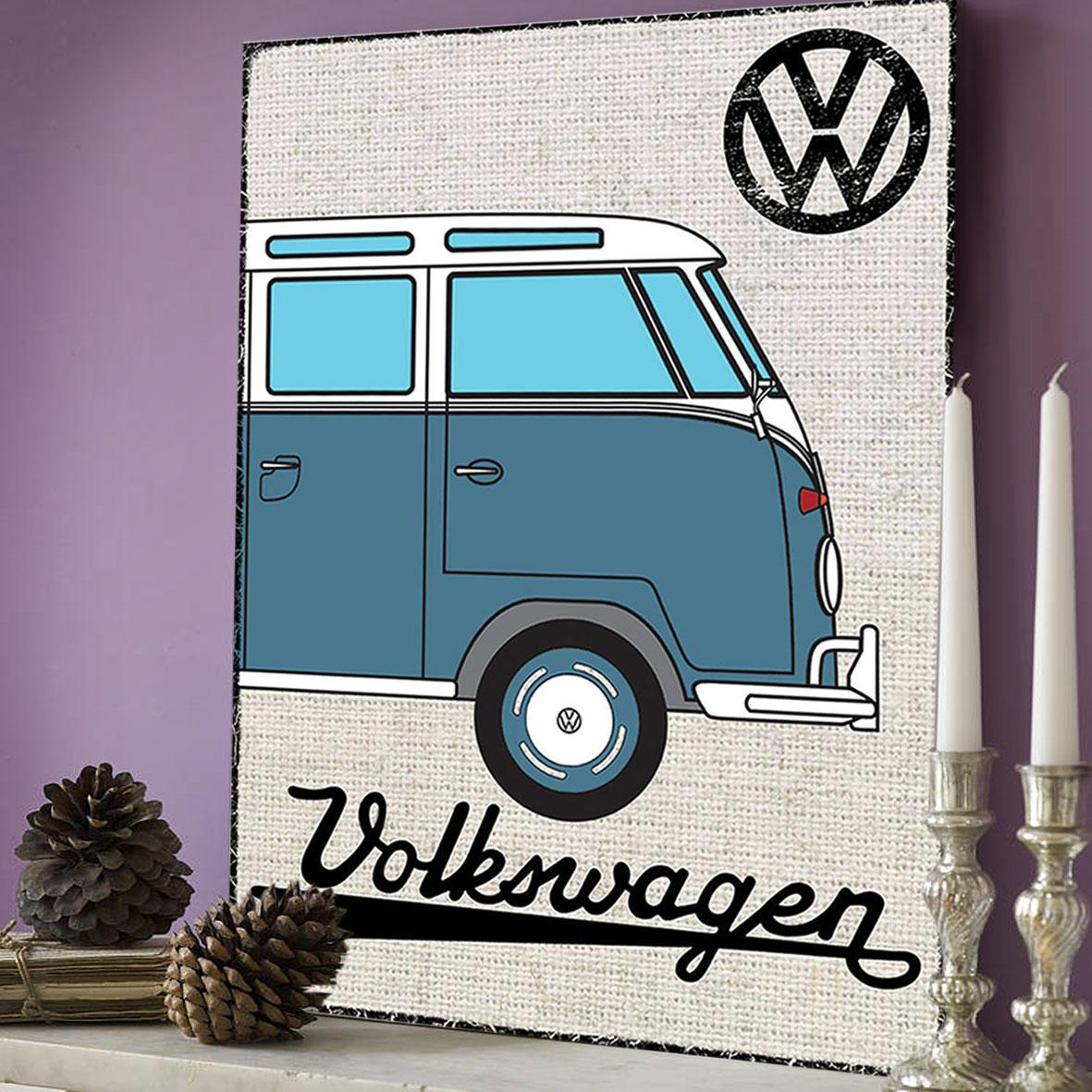 Official Vw Blue Campervan Metal Wall Art Plaque / Sign 41Cm X With Regard To Campervan Metal Wall Art (Image 11 of 20)