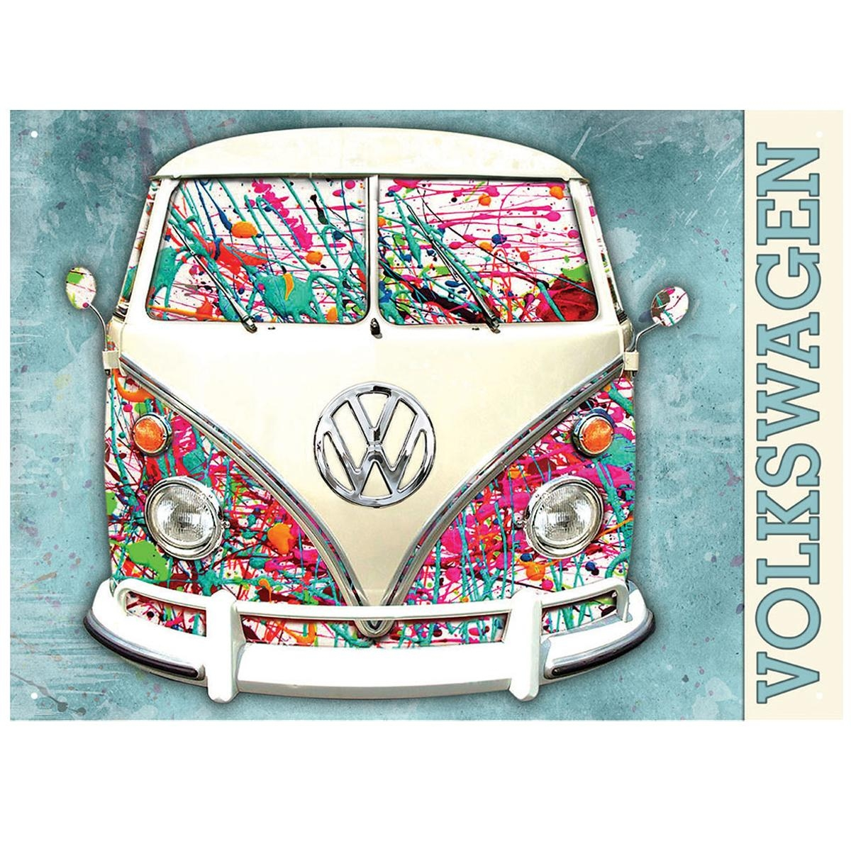 Official Vw Split Screen Camper Splatter Metal Wall Art Plaque Pertaining To Campervan Metal Wall Art (Image 12 of 20)