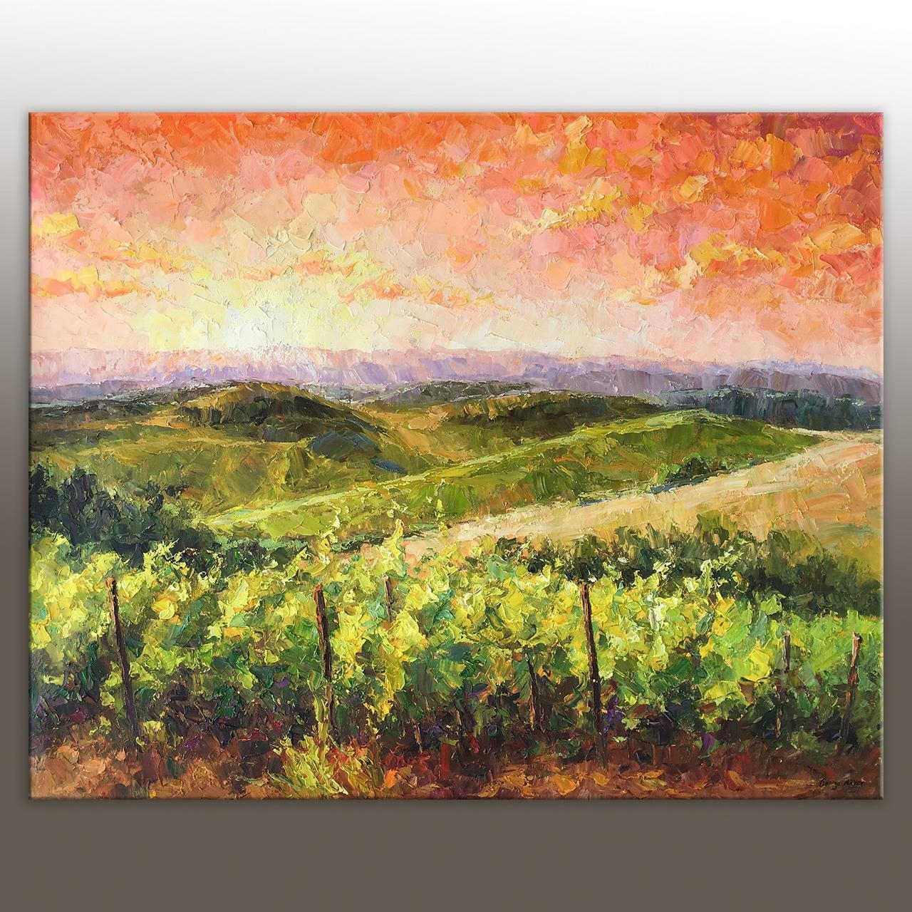 Oil Painting Italian Tuscany Vineyard Landscape Painting Throughout Vineyard Wall Art (Image 11 of 20)