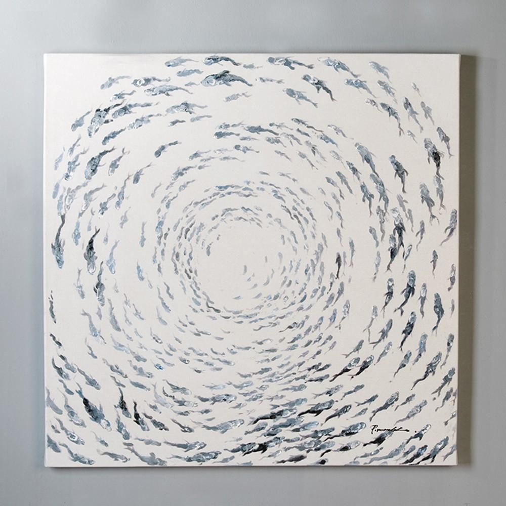 Oil Painting Shoal Of Fish Canvas On Devotailed Wooden Frame Blue Within Shoal Of Fish Metal Wall Art (Image 14 of 20)