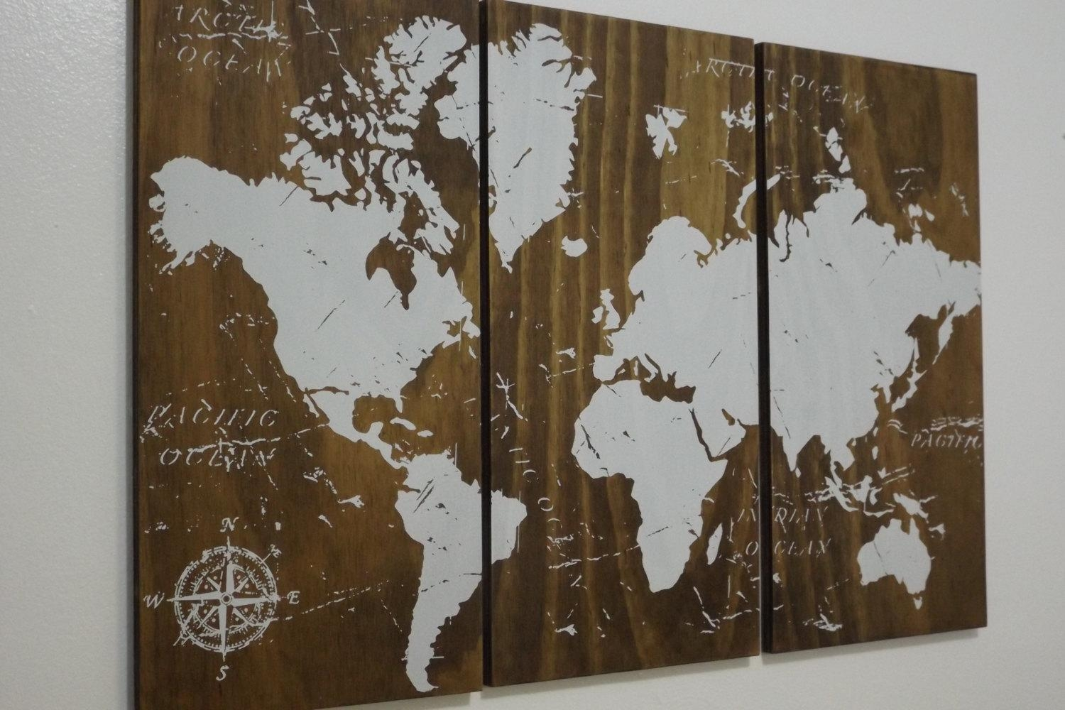 Old World Map Push Pin Travel Map Solid Wood Wall Art In Old World Map Wall Art (View 2 of 20)