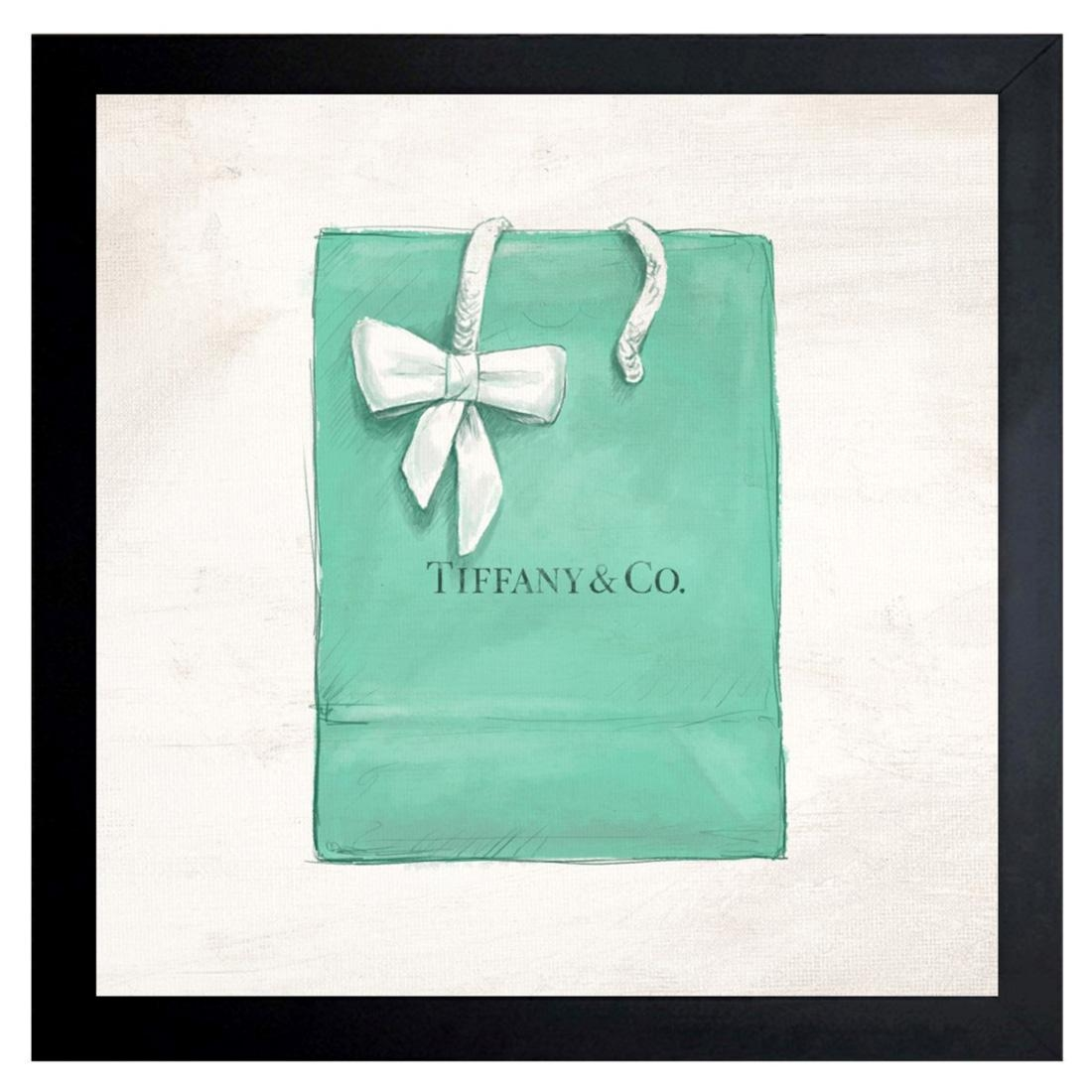 Oliver Gal Jewelry Shopping Bag Black Framed Wall Art Throughout Tiffany And Co Wall Art (Image 14 of 20)