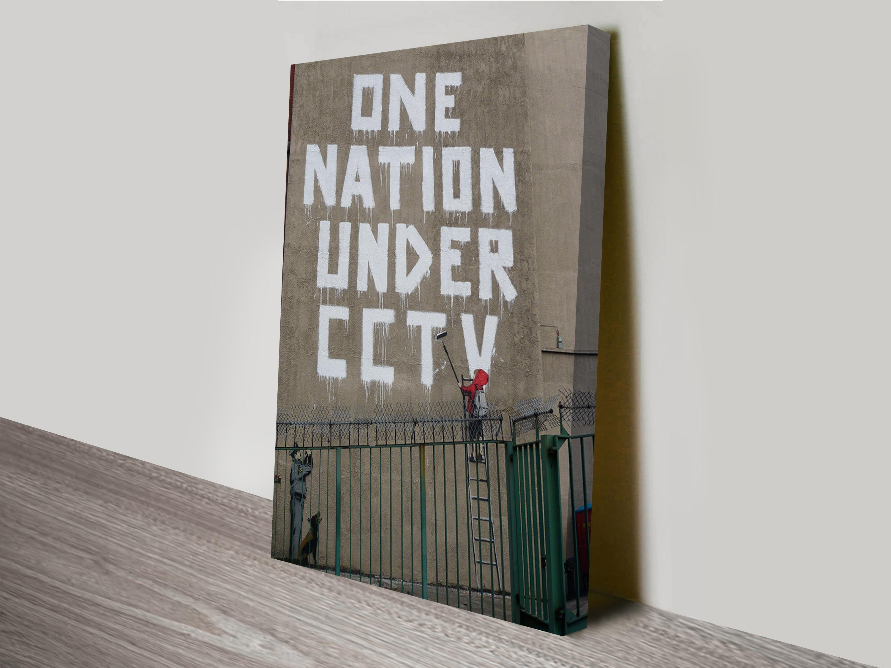 One Nation Cctv Print Banksy Australia For Banksy Canvas Wall Art (View 11 of 20)