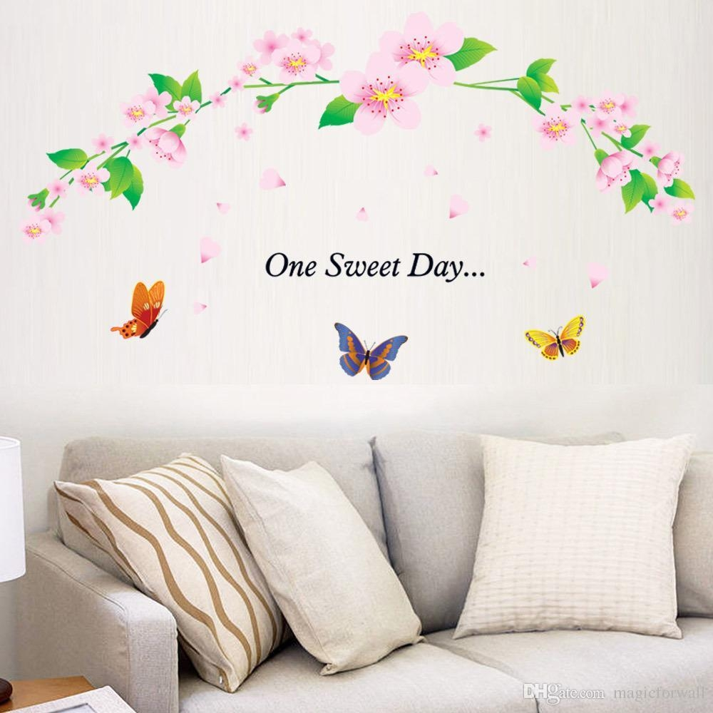 One Sweet Day Pink Cherry Blossom Tree Wall Decor Stickers Decal Pertaining To Butterflies Wall Art Stickers (View 9 of 20)