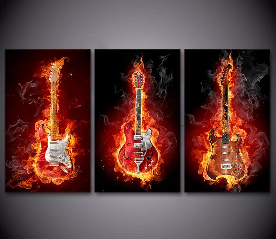 Online Buy Wholesale Guitar Canvas Painting From China Guitar Throughout Guitar Canvas Wall Art (Image 13 of 20)