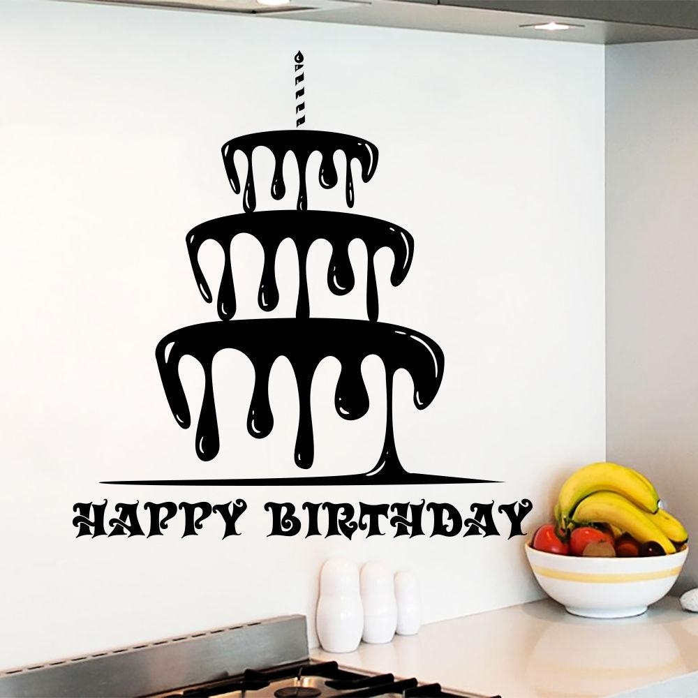 Online Buy Wholesale Happy Birthday Decals From China Happy Intended For Happy Birthday Wall Art (View 3 of 20)