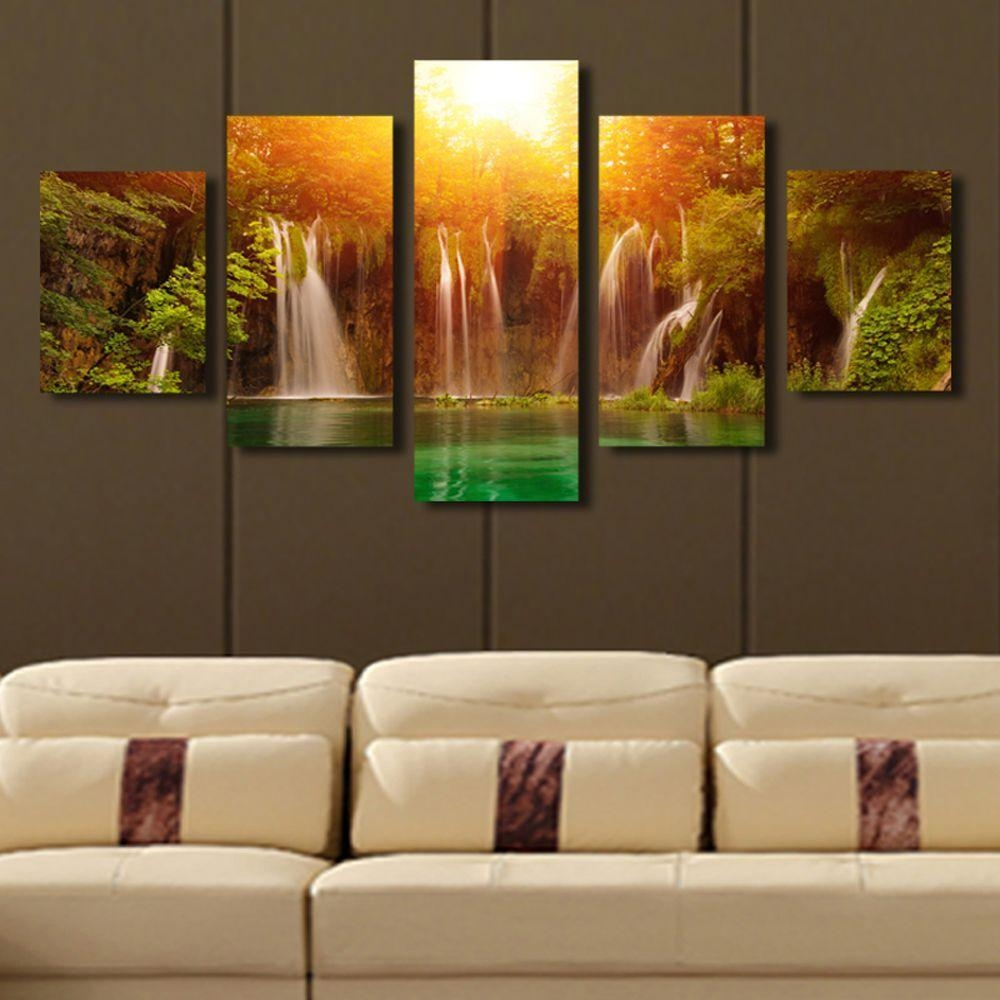 Online Cheap 5 Panel Canvas Art Waterfall Sunrise Landscape Canvas With Waterfall Wall Art (Image 10 of 20)