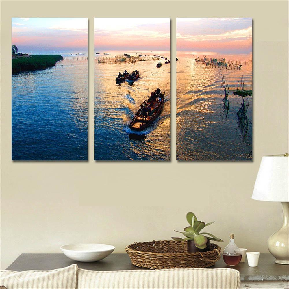 Online Get Cheap 3 Piece Canvas Wall Art Beach Sunsets Aliexpress In 3 Piece  Beach Wall