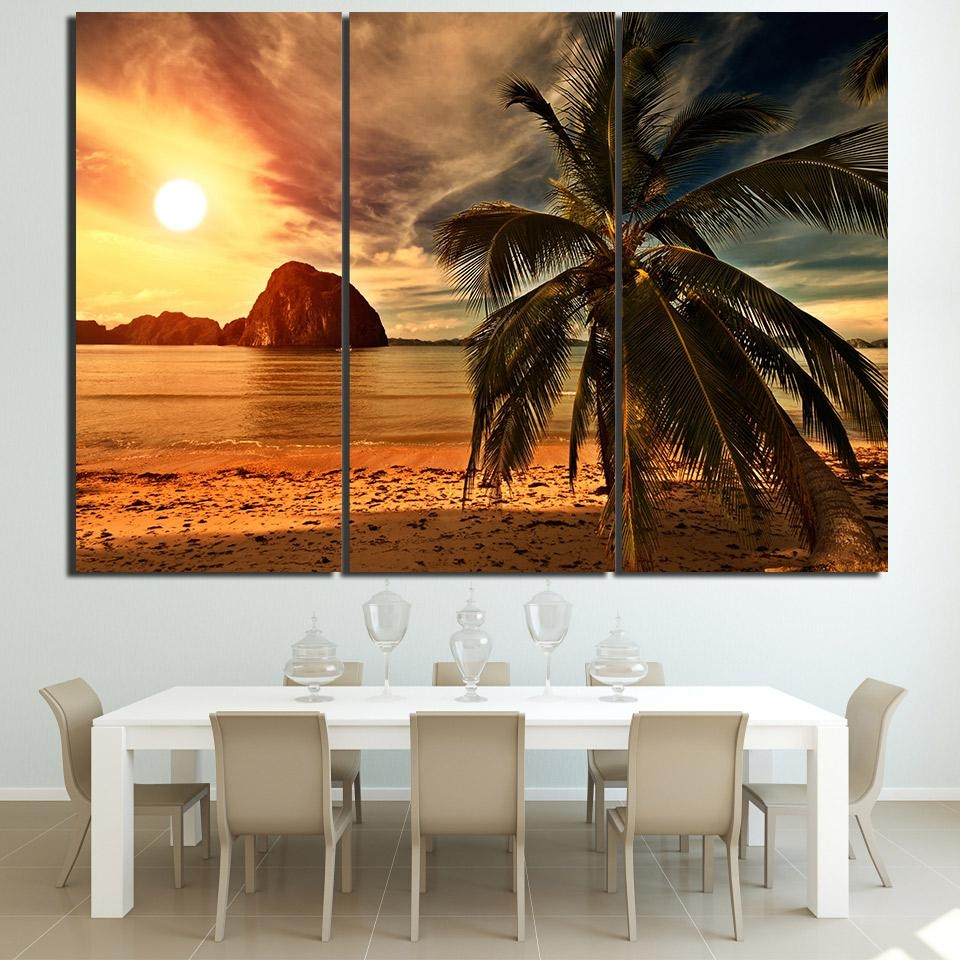 Online Get Cheap 3 Piece Canvas Wall Art Beach Sunsets  Aliexpress Within 3 Piece Abstract Wall Art (Image 13 of 20)