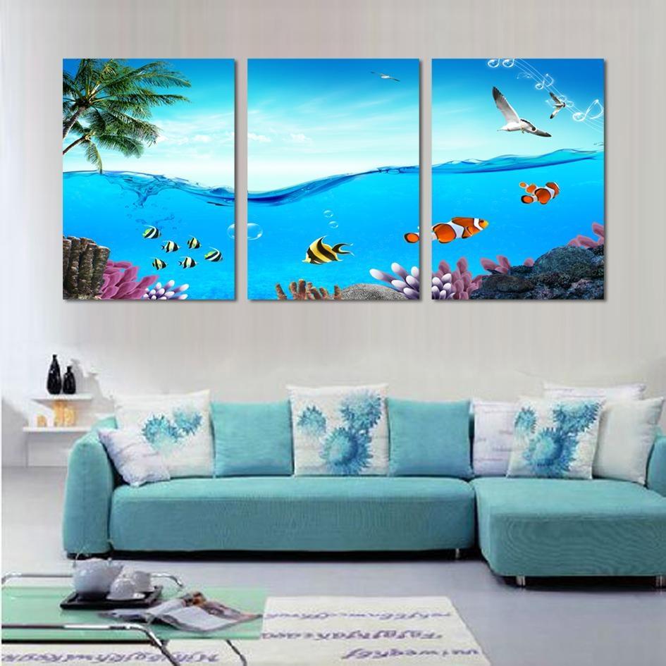 online get cheap 3 piece canvas wall art tropical aliexpress regarding coastal wall art canvas