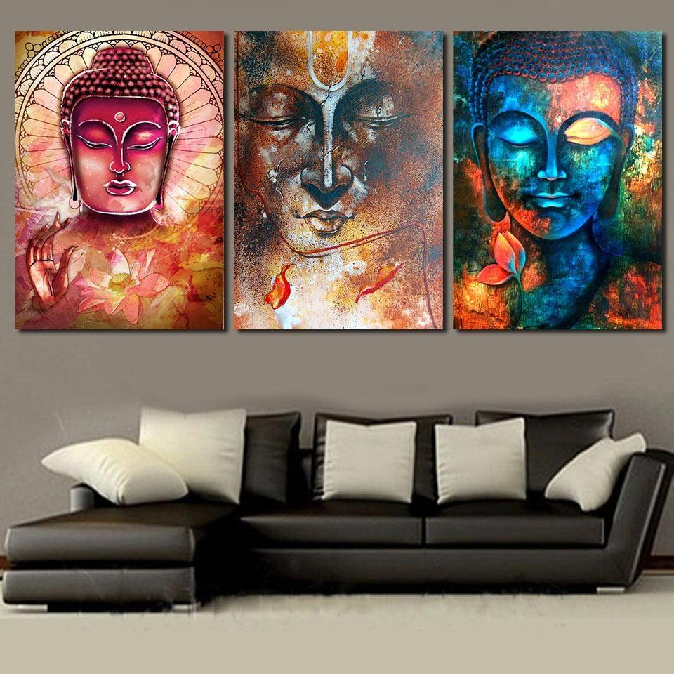 Online Get Cheap Buddha Wall Art 3 Piece Aliexpress | Alibaba In 3 Piece Modern Wall Art (View 17 of 20)