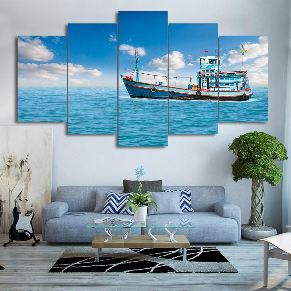 Online Get Cheap Fishing Boat Art  Aliexpress   Alibaba Group Within Boat Wall Art (Image 11 of 20)