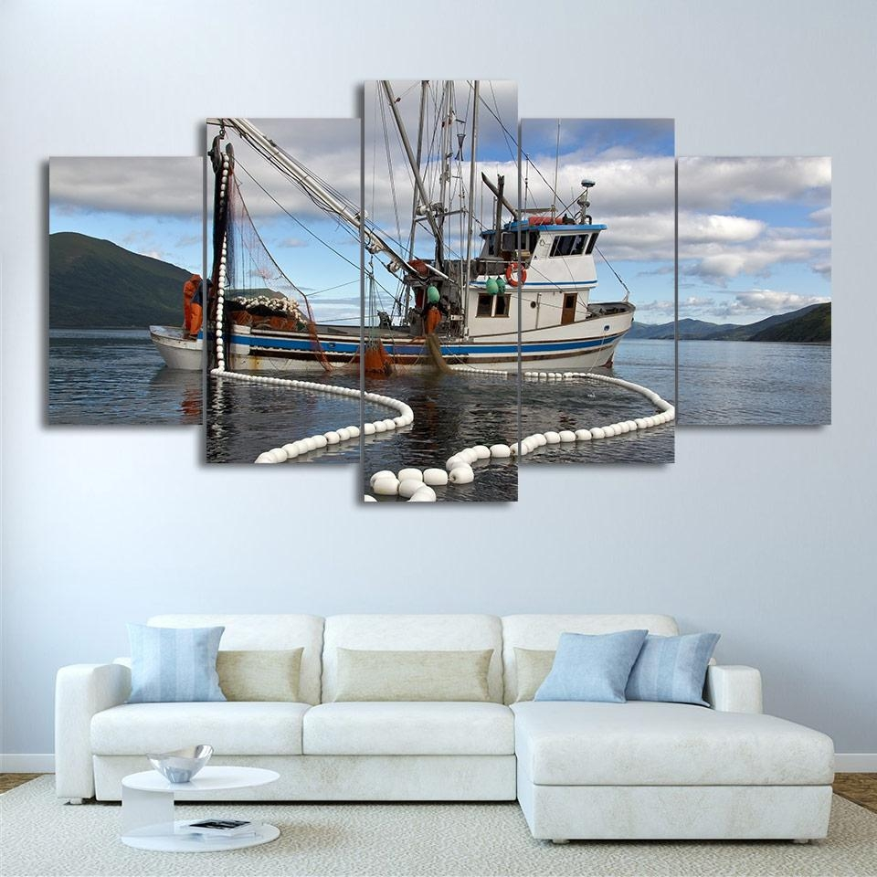 Online Get Cheap Fishing Boat Paintings  Aliexpress   Alibaba Pertaining To Boat Wall Art (Image 12 of 20)
