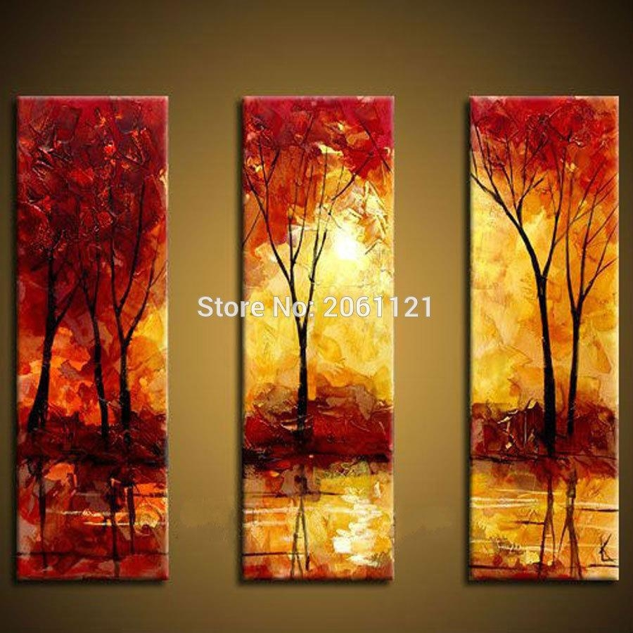 Online Get Cheap Hand Painted 3 Piece Canvas Wall Art Red Tree Oil in 3 Piece Abstract Wall Art