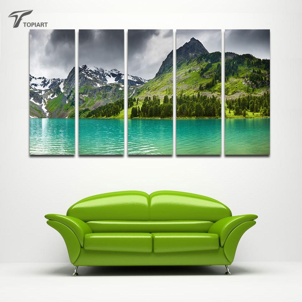 Online Get Cheap Large Canvas Wall Art Mountains Aliexpress With Large Green Wall Art (View 8 of 20)