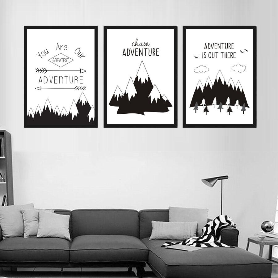 Online Get Cheap Mountain Prints  Aliexpress | Alibaba Group For Cheap Black And White Wall Art (Image 16 of 20)