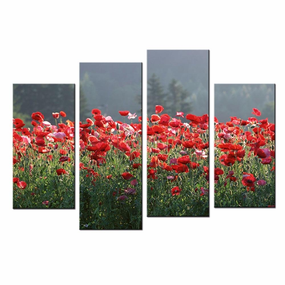 Online Get Cheap Poppies Canvas  Aliexpress   Alibaba Group In Red Poppy Canvas Wall Art (Image 10 of 20)