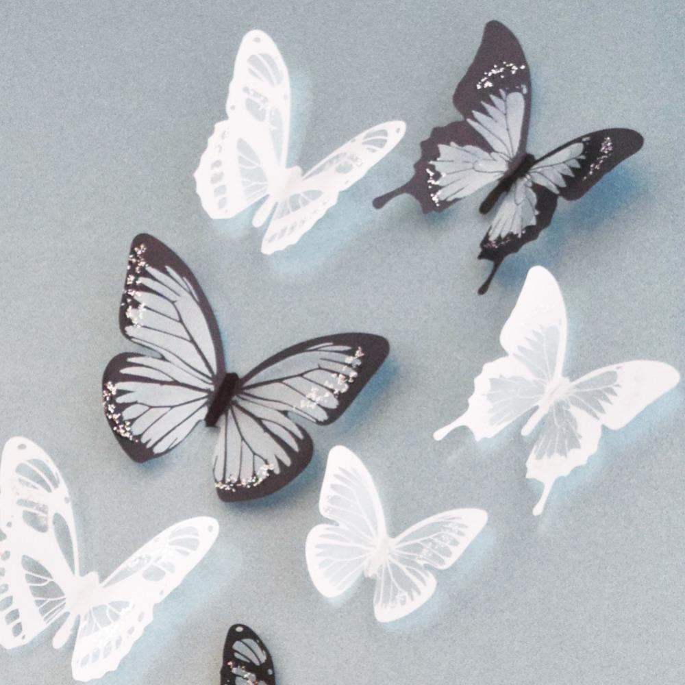Online Get Cheap White 3D Butterfly Wall Art  Aliexpress Regarding White 3D Wall Art (Image 10 of 20)