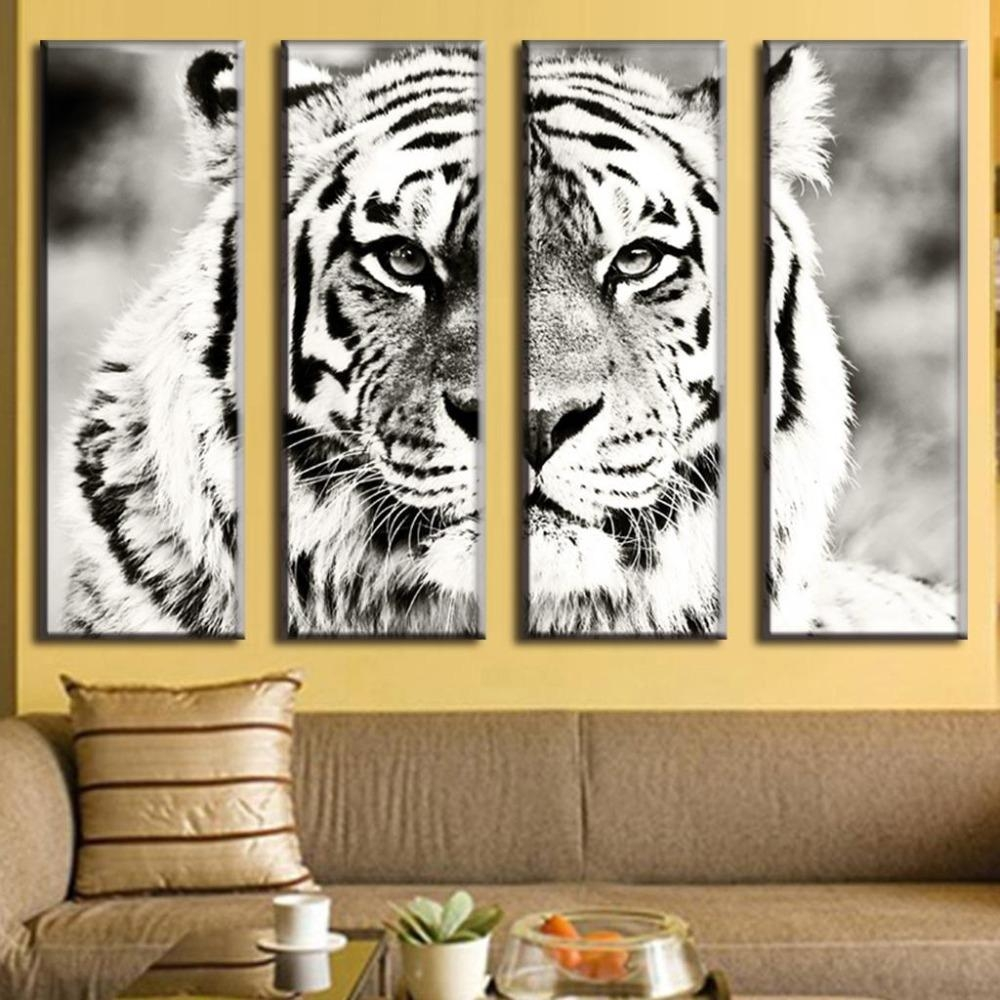 Online Get Cheap White Tiger Canvas Art  Aliexpress | Alibaba With Cheap Black And White Wall Art (Image 17 of 20)