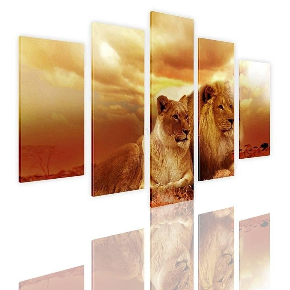 Online Shop 2017 Jie Do Art No Frame Newest 5 Panels Safari Lions Pertaining To Split Wall Art (Image 11 of 20)