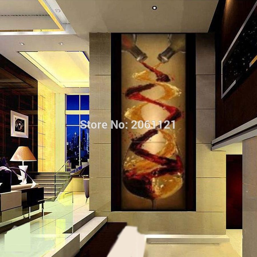 Online Shop Abstract Canvas Oil Painting Hand Painted Long Throughout Long Vertical Wall Art (Image 15 of 20)