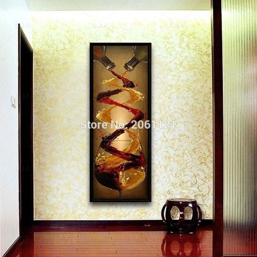 Online Shop Abstract Canvas Oil Painting Hand Painted Long Within Long Vertical Wall Art (View 6 of 20)