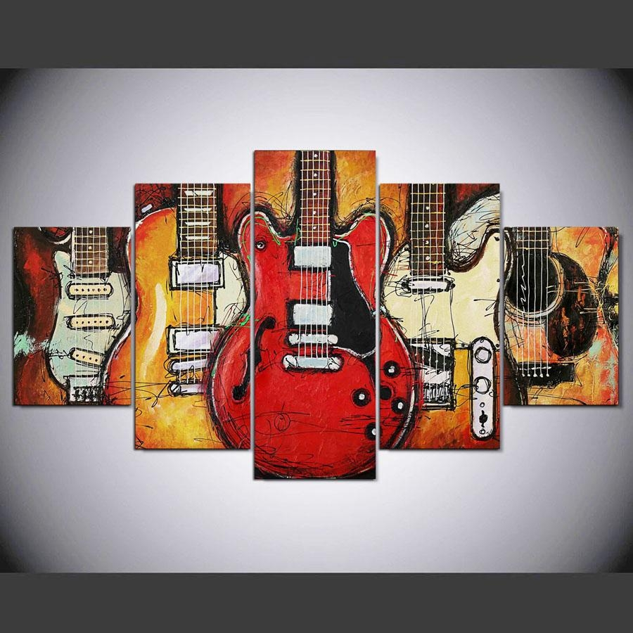 Online Shop Canvas Paintings Printed 5 Pieces Guitar Abstract Wall With Guitar Canvas Wall Art (View 7 of 20)