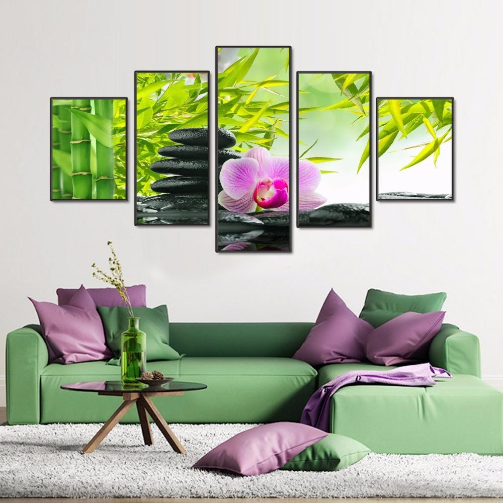 Online Shop Modern 5 Panels Wall Art Paint Melamine Sponge Board With Regard To Feng Shui Wall Art (Image 16 of 20)