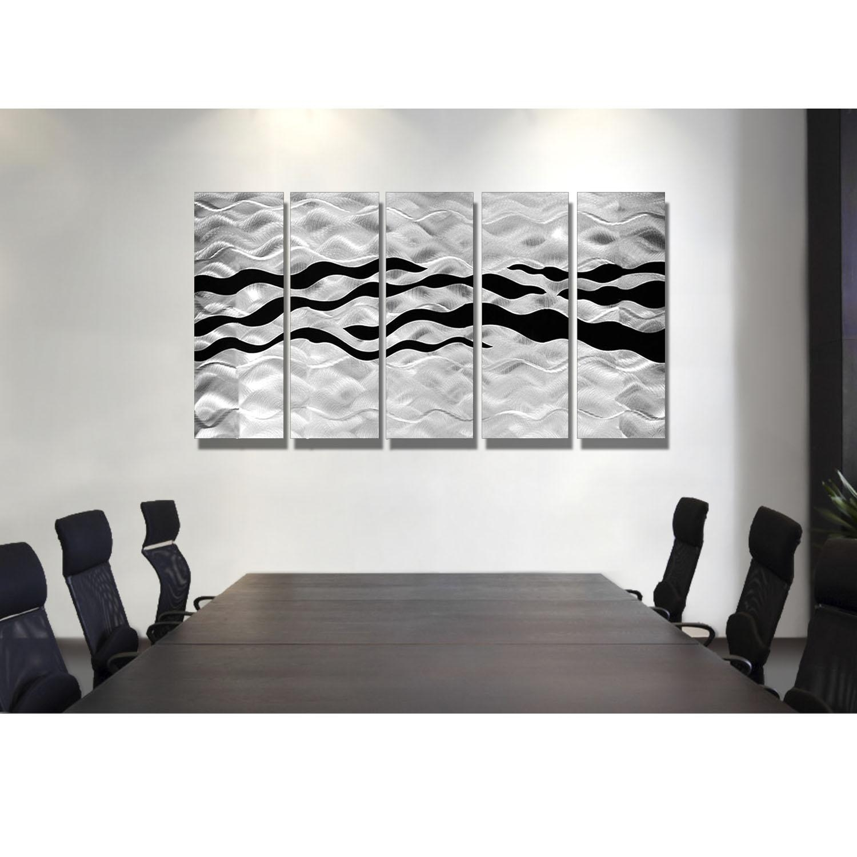 Onyx Oceana – Silver And Black Metal Wall Art – 5 Panel Wall Décor Inside Black Silver Wall Art (View 3 of 20)