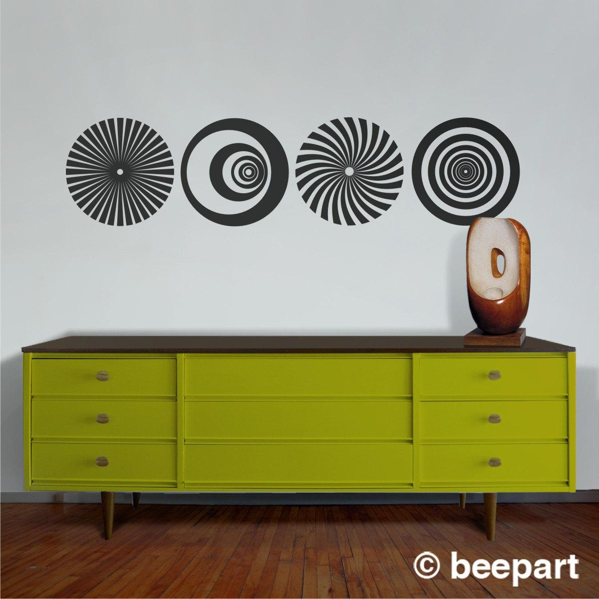 Op Art Vinyl Wall Decal Set, Optical Art Sticker, Geometric Wall With Art Nouveau Wall Decals (Image 16 of 20)