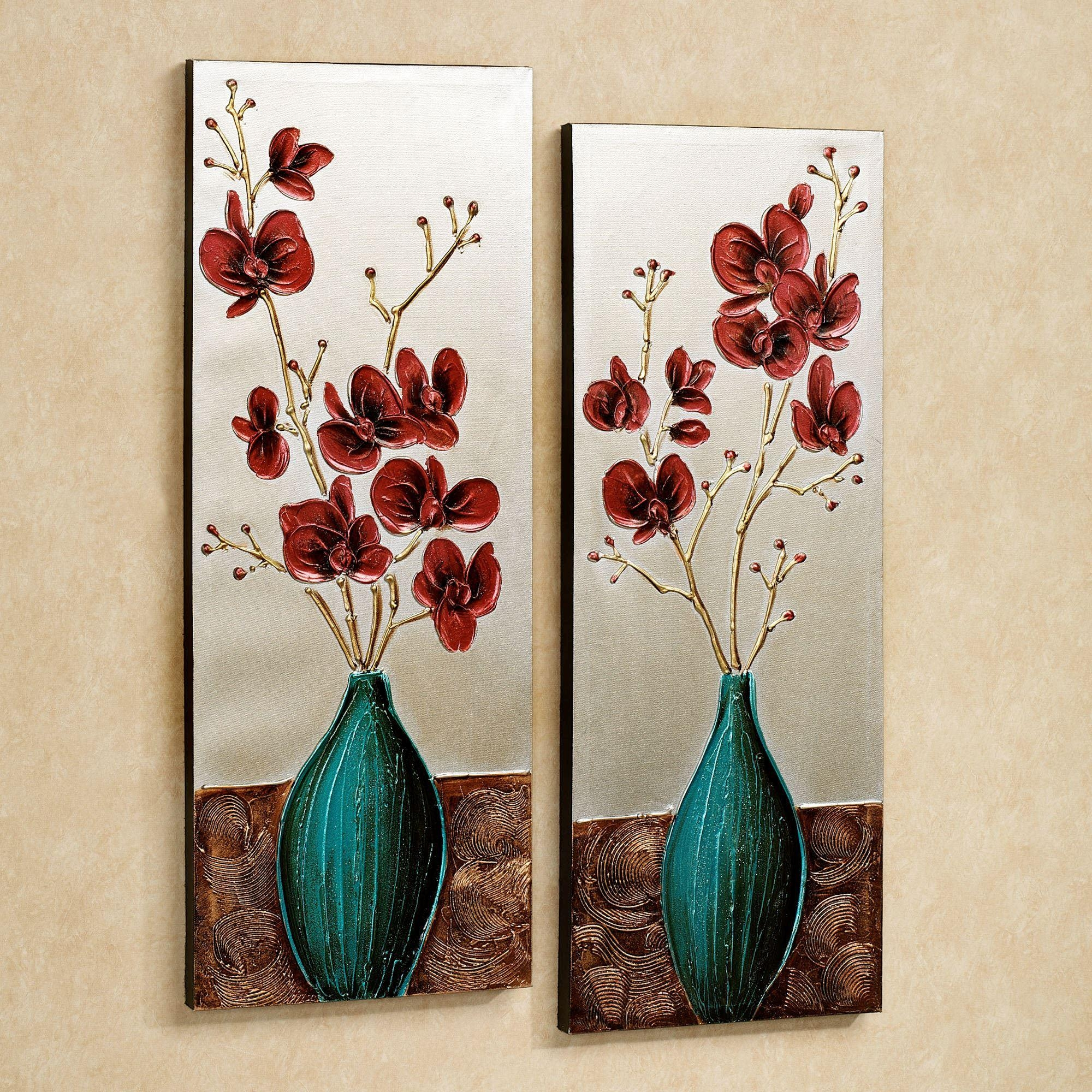 Orchid Medley Floral Canvas Wall Art Set Inside Teal Flower Canvas Wall Art (Image 18 of 20)