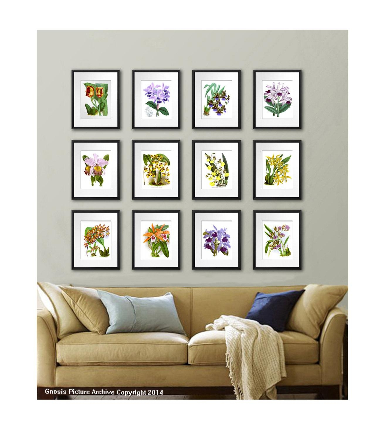 Orchid Plant Set Of 12 Wall Art Tropical Decor Botanical Inside Wall Art Print Sets (Image 6 of 20)