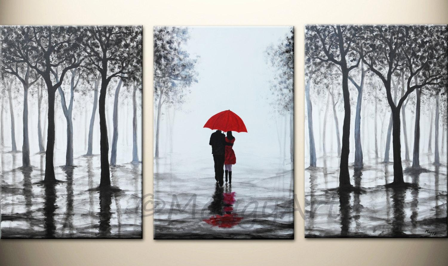 Original Acrylic Painting72X36 Inch Walking In Rain Black Pertaining To Black And White Wall Art With Red (View 12 of 20)