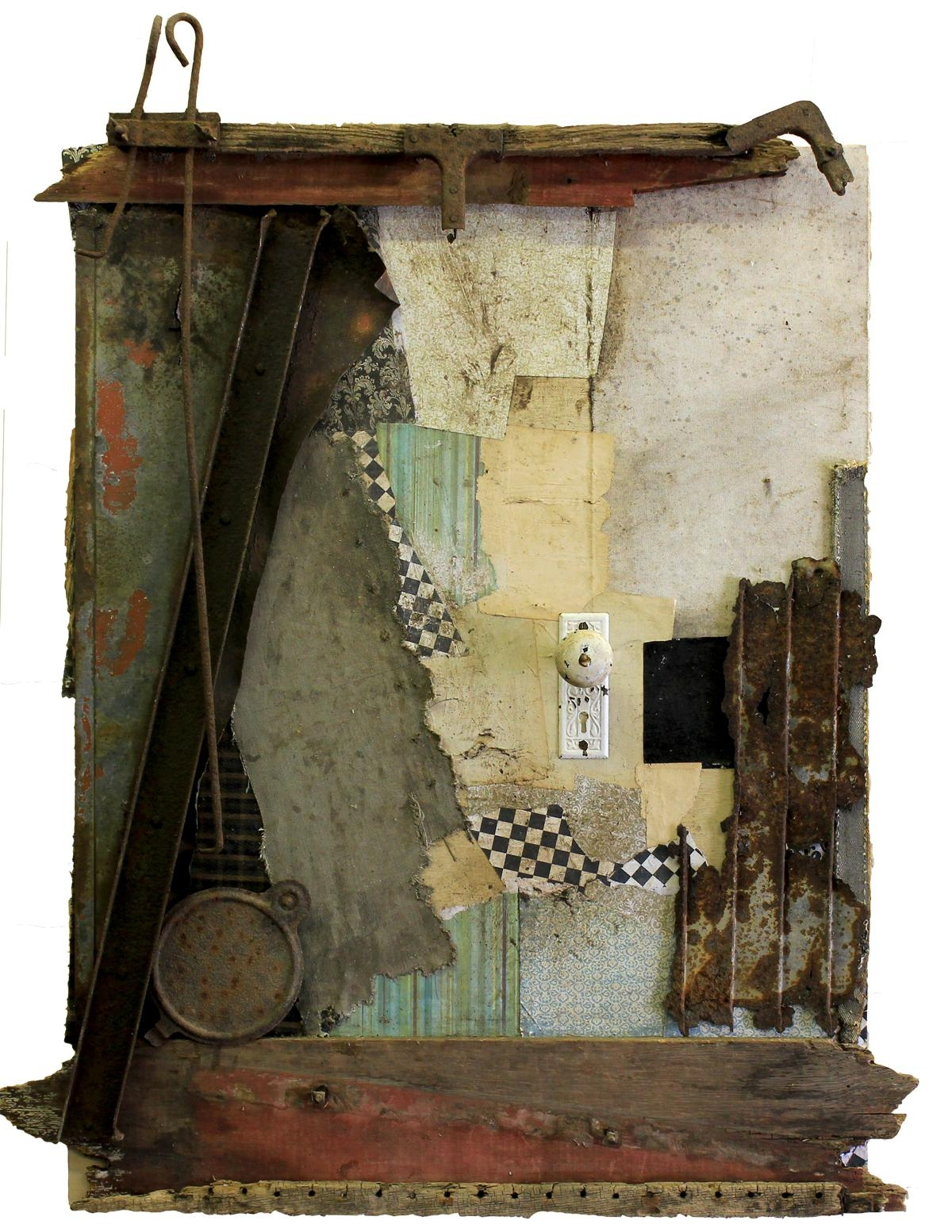 Original Mixed Media Vintage Industrial Art Assemblagemichel Pertaining To Vintage Industrial Wall Art (Image 16 of 20)