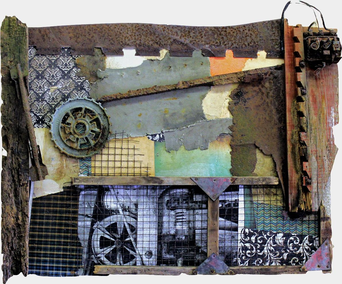 Original Mixed Media Vintage Industrial Art Assemblagemichel Throughout Industrial Wall Art (Image 14 of 20)