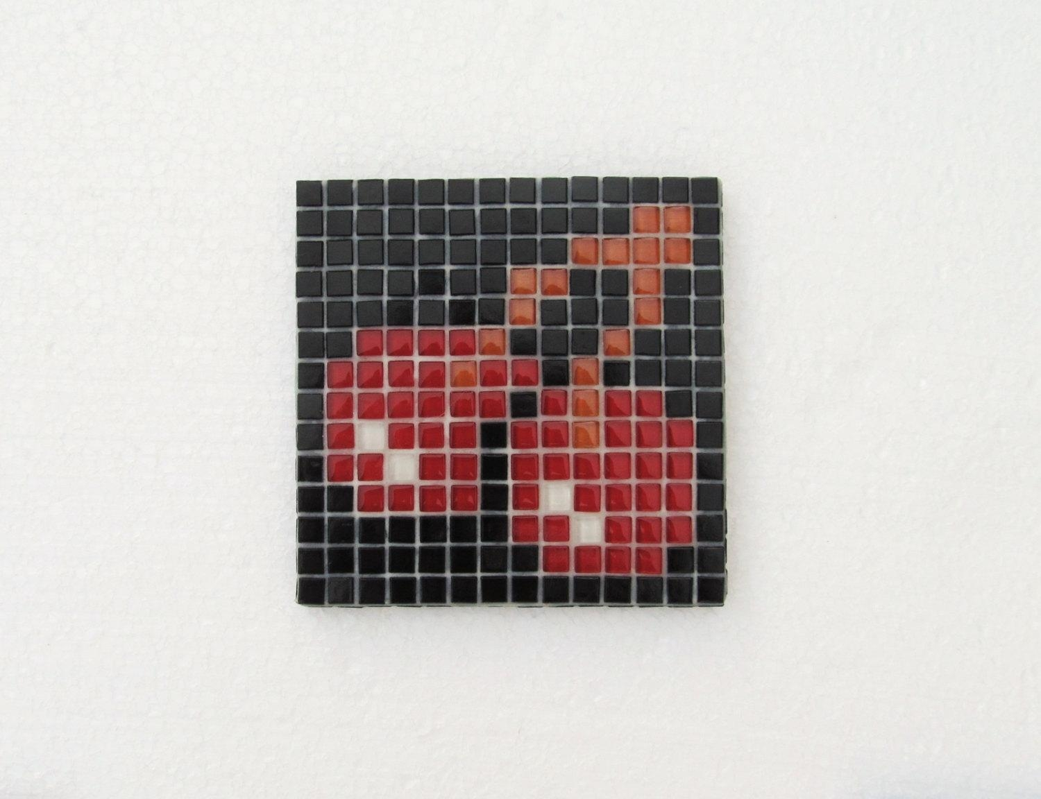 Original Pacman Mosaic Wall Art Pacman Red Cherries Pacman For Pixel Mosaic Wall Art (Image 6 of 20)