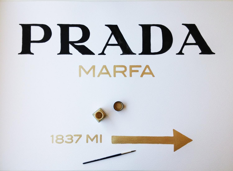 Original Prada Marfa Watercolor Golden Letters Inspired Wall Art In Prada Wall Art (View 2 of 20)