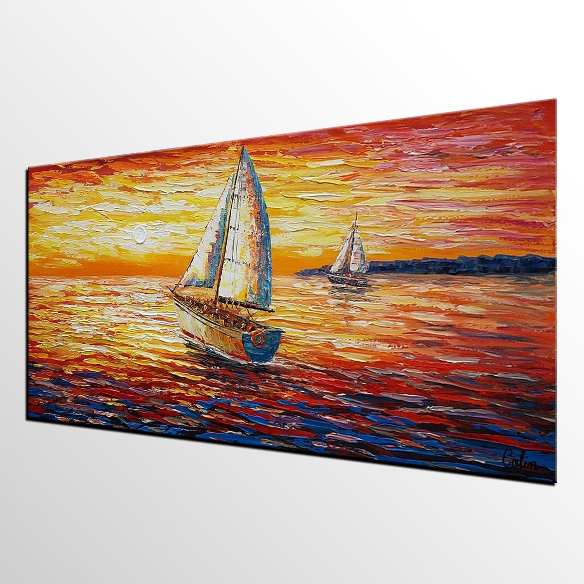 Original Wall Art, Sail Boat Painting, Seascape Painting, Abstract Intended For Boat Wall Art (Image 14 of 20)
