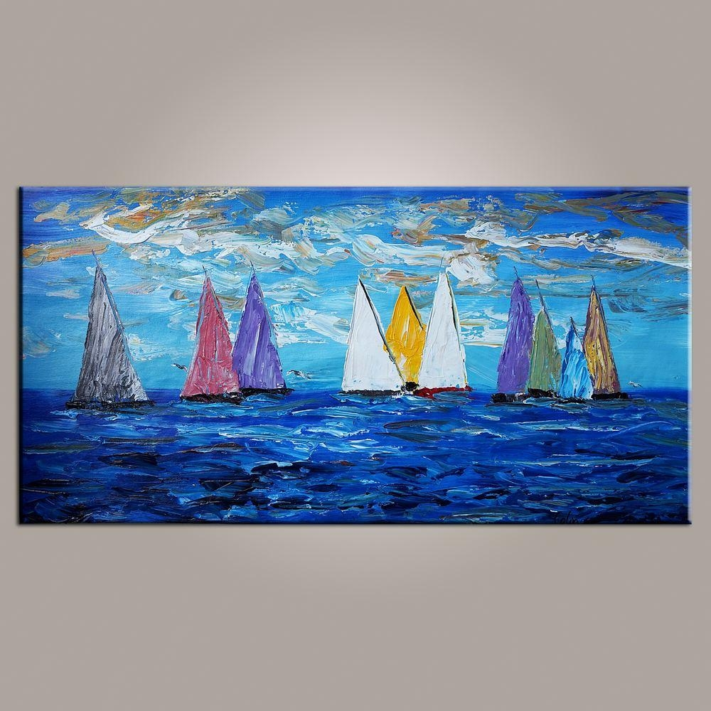 Original Wall Art, Sailing Boat Painting, Seascape Painting, Wall In Boat Wall Art (View 20 of 20)