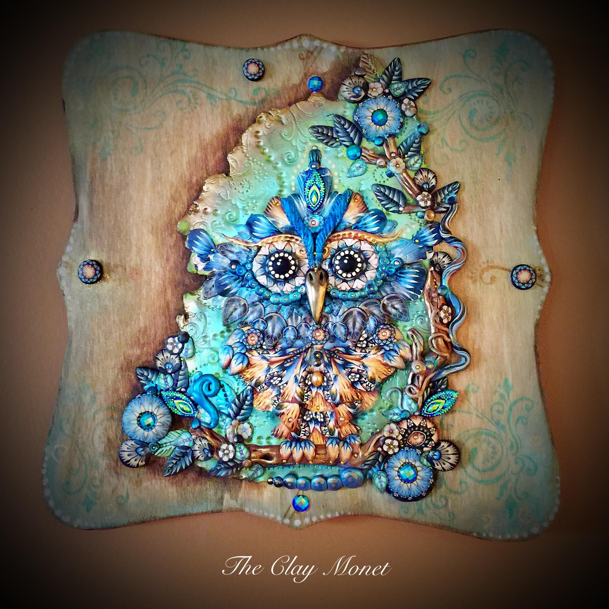 Ornate Owl Complex Polymer Clay Cane Hanging Wooden Wall Plaque Inside Polymer Clay Wall Art (View 16 of 20)