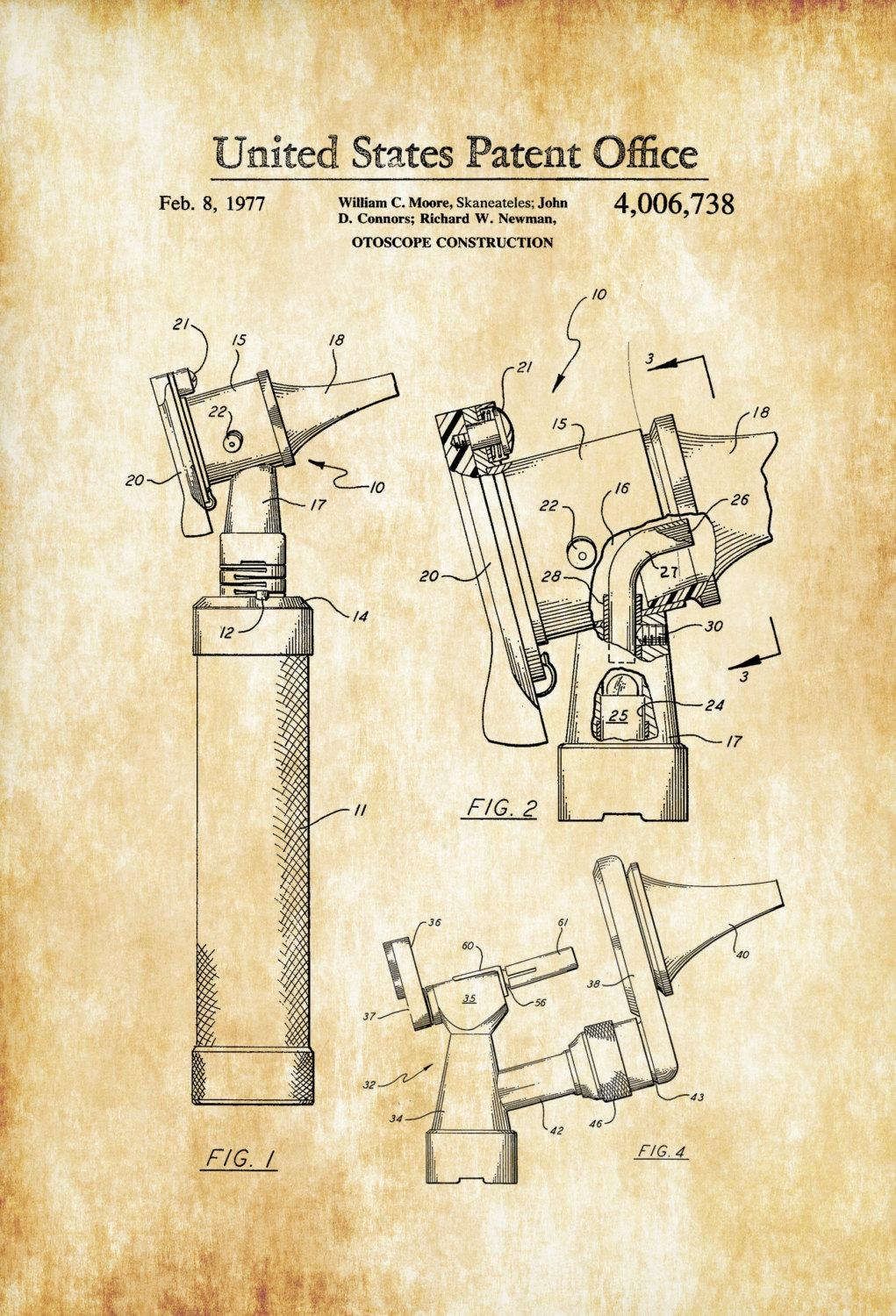 Otoscope Patent 1977 – Patent Print, Wall Decor, Doctor Office With Regard To Medical Wall Art (Image 12 of 20)
