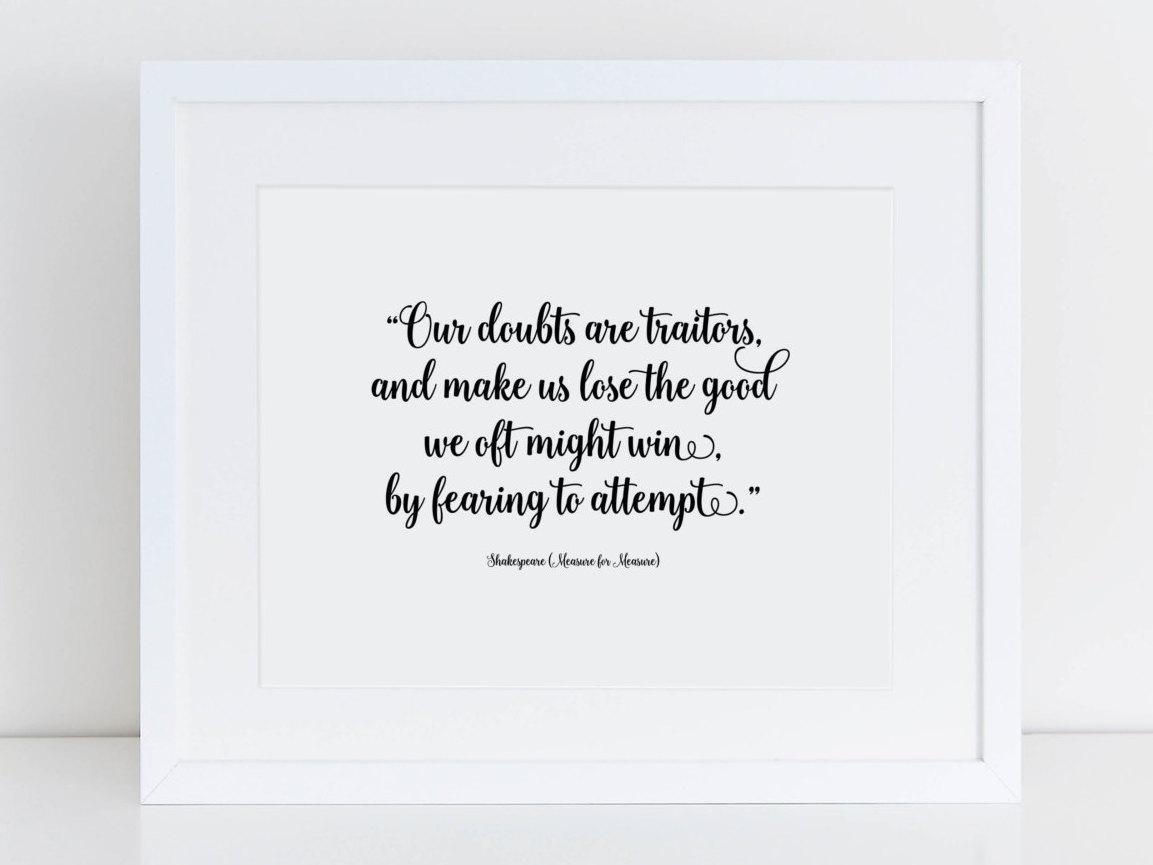 Our Doubts Are Traitors Shakespeare Quote Handcrafted Throughout Shakespeare Wall Art (View 7 of 20)