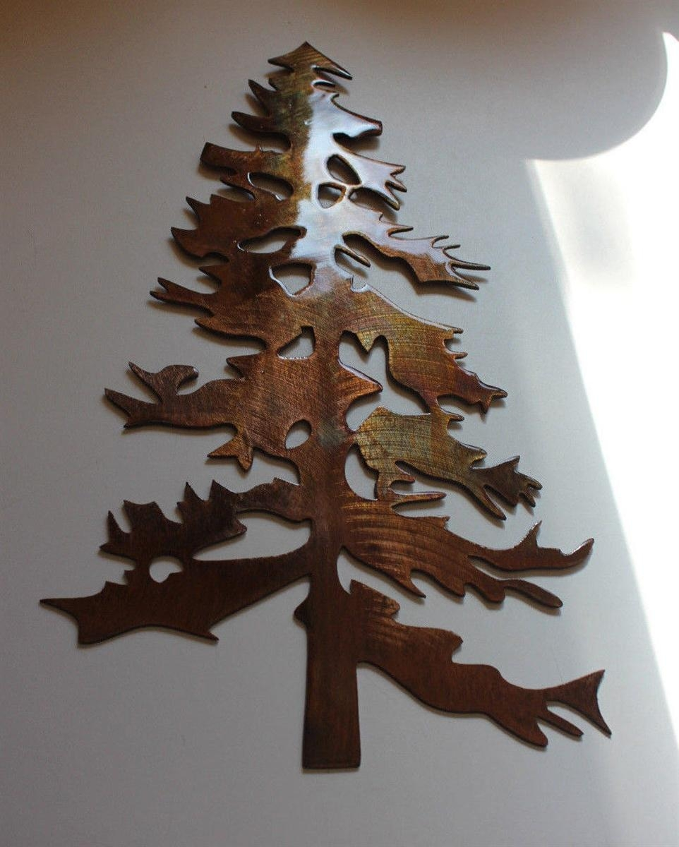 Outdoor Pine Tree 2 Metal Wall Art Decor Throughout Metal Wall Art Trees And Branches (Image 10 of 20)