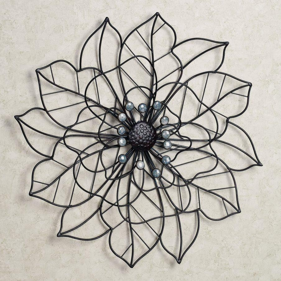 Outstanding Metal Flower Wall Art Pearl Array Wall Art Wall Decor With Purple Flower Metal Wall Art (View 20 of 20)