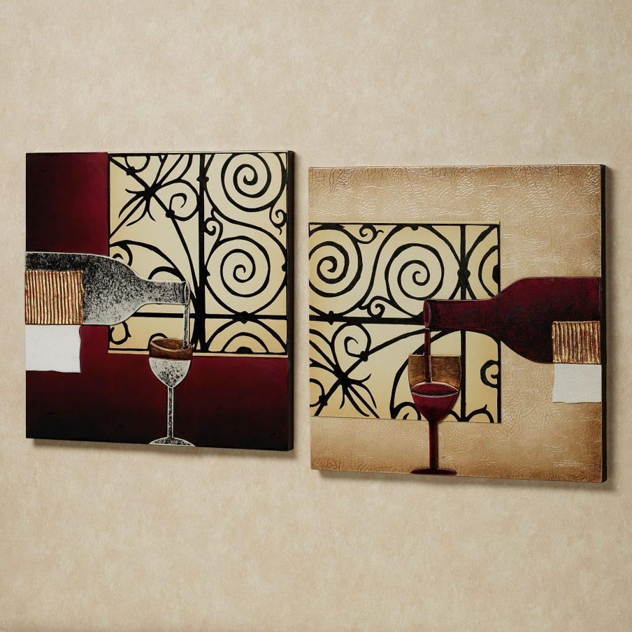 Outstanding Wine Bottle Wall Art Stickers Piece Wall Art Wine Wine For Wine Metal Wall Art (Image 11 of 20)