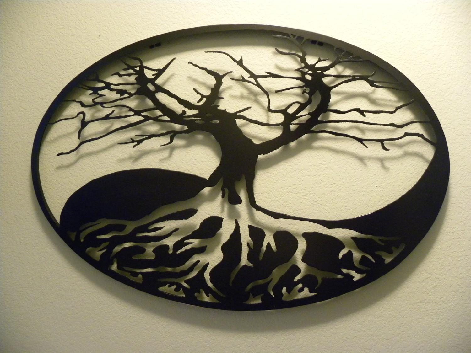 Oval Yin Yang Tree Of Life Metal Wall Art Within Yin Yang Wall Art (Image 7 of 20)