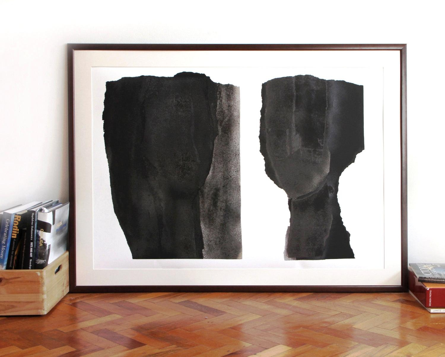 Oversized Abstract Modern Art Black And White Extra Large Within Extra Large Wall Art Prints (View 8 of 20)