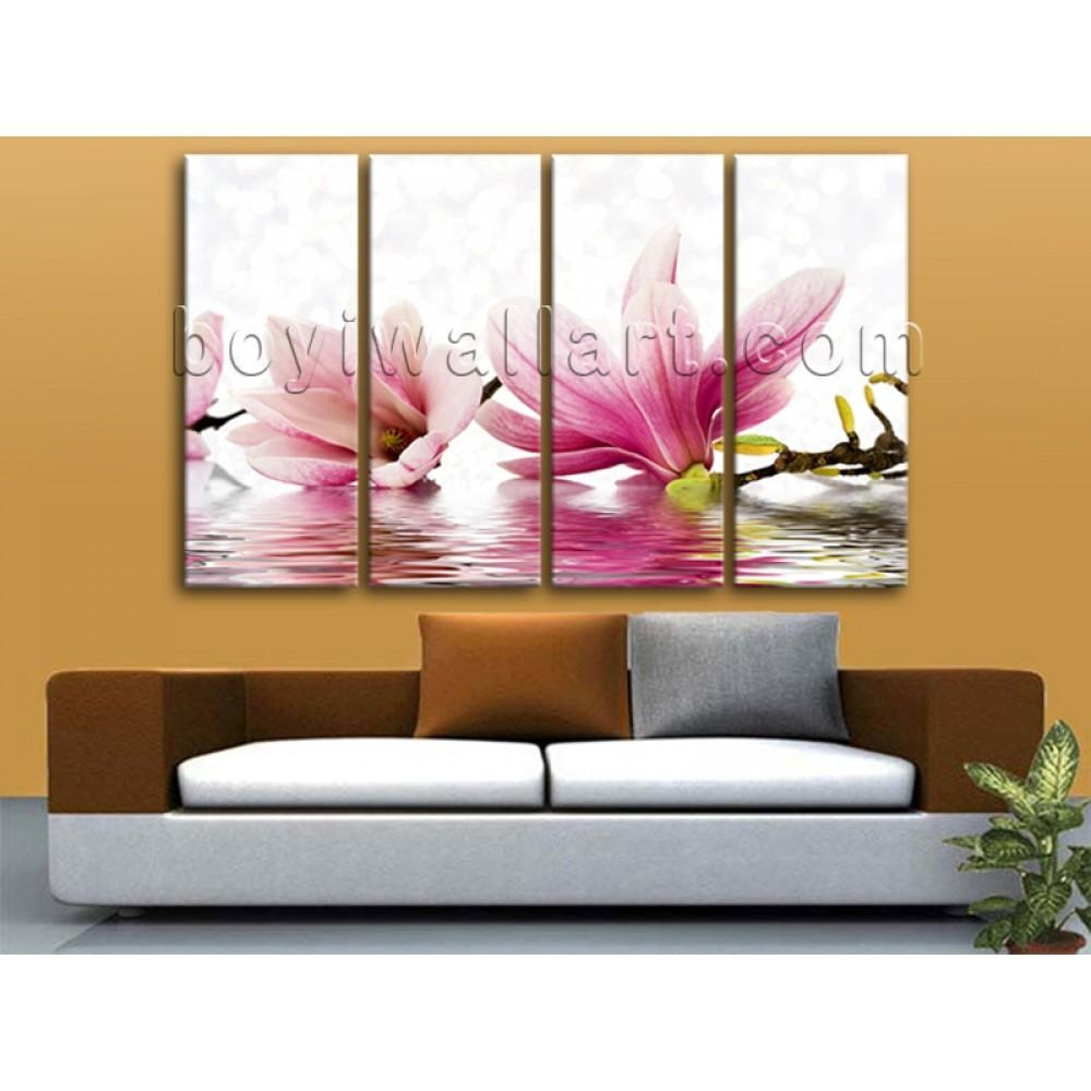 Oversized Beautiful Flowers Flower Wall Art Living Room 4 Pieces Print Throughout Flower Wall Art Canvas (Image 16 of 20)