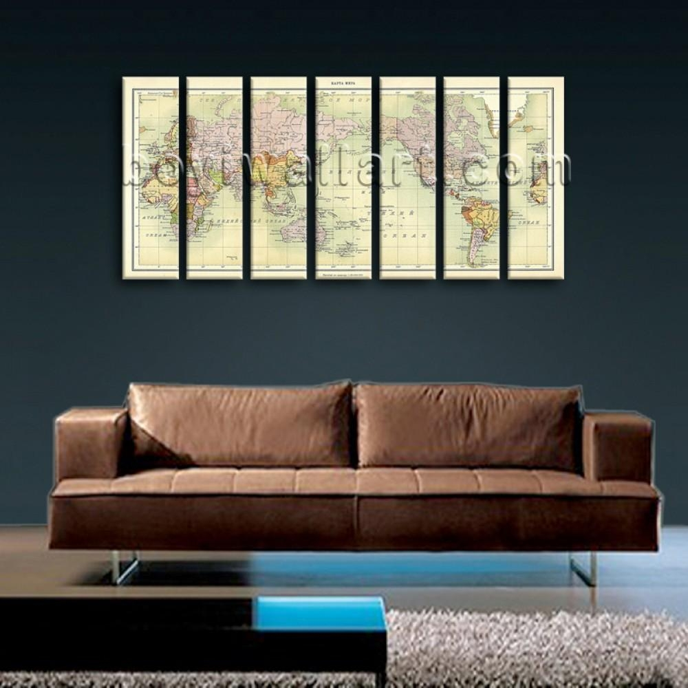 Oversized World Map Global Atlas Hd Print On Canvas Modern Wall Within Oversized Modern Wall Art (View 19 of 20)
