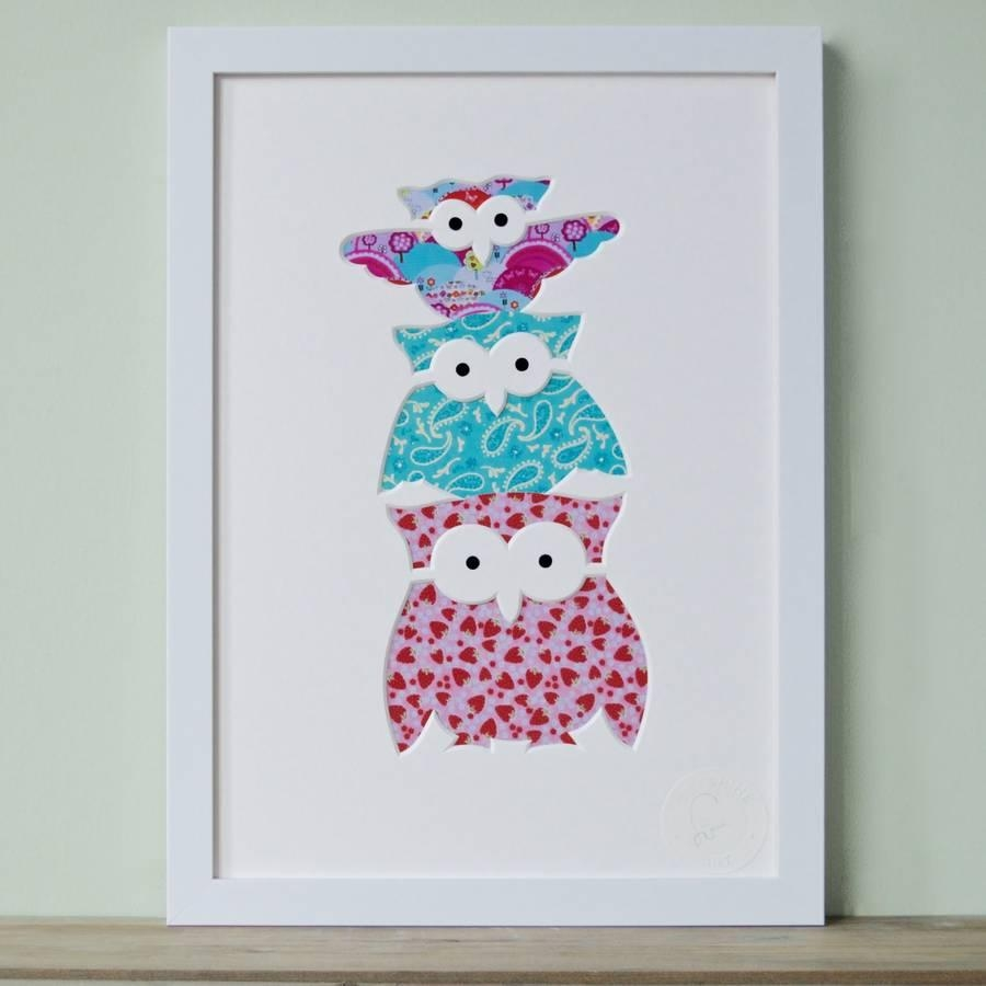 Owl Family Cut Out Pictureoutshine Art | Notonthehighstreet With Owl Framed Wall Art (View 3 of 20)